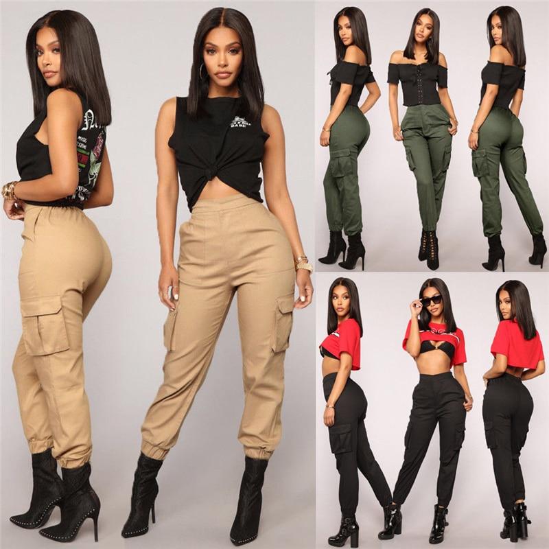 New Women's Casual High Waist Cargo Trousers Ladies Leggings Jogging Pencil Pant
