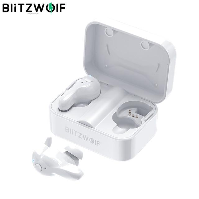 [Biały] Blitzwolf BW-FYE1 TWS bezprzewodowy zestaw słuchawkowy Bluetooth 5.0 słuchawki dwustronnych otrzymać telefon zwrotny od automatyczne parowanie Stereo douszne słuchawki douszne z okno ładowania