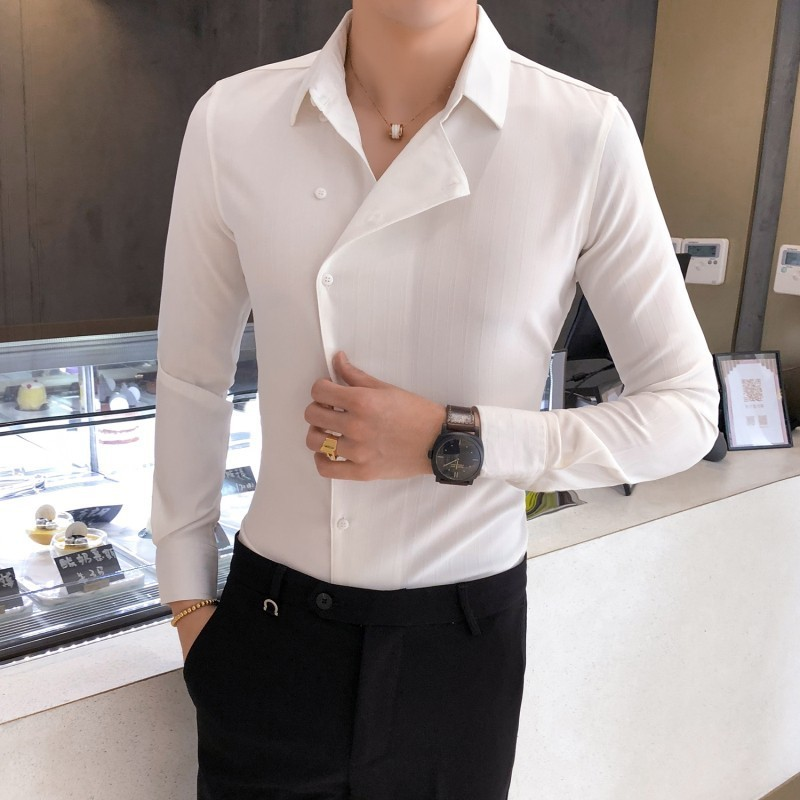 High Quality Solid Color Shirt Dress Brand New Slim Fit Men Shirt Solid  Long Sleeve Shirts Men Camisa Masculina Tuxedo Clothes 3