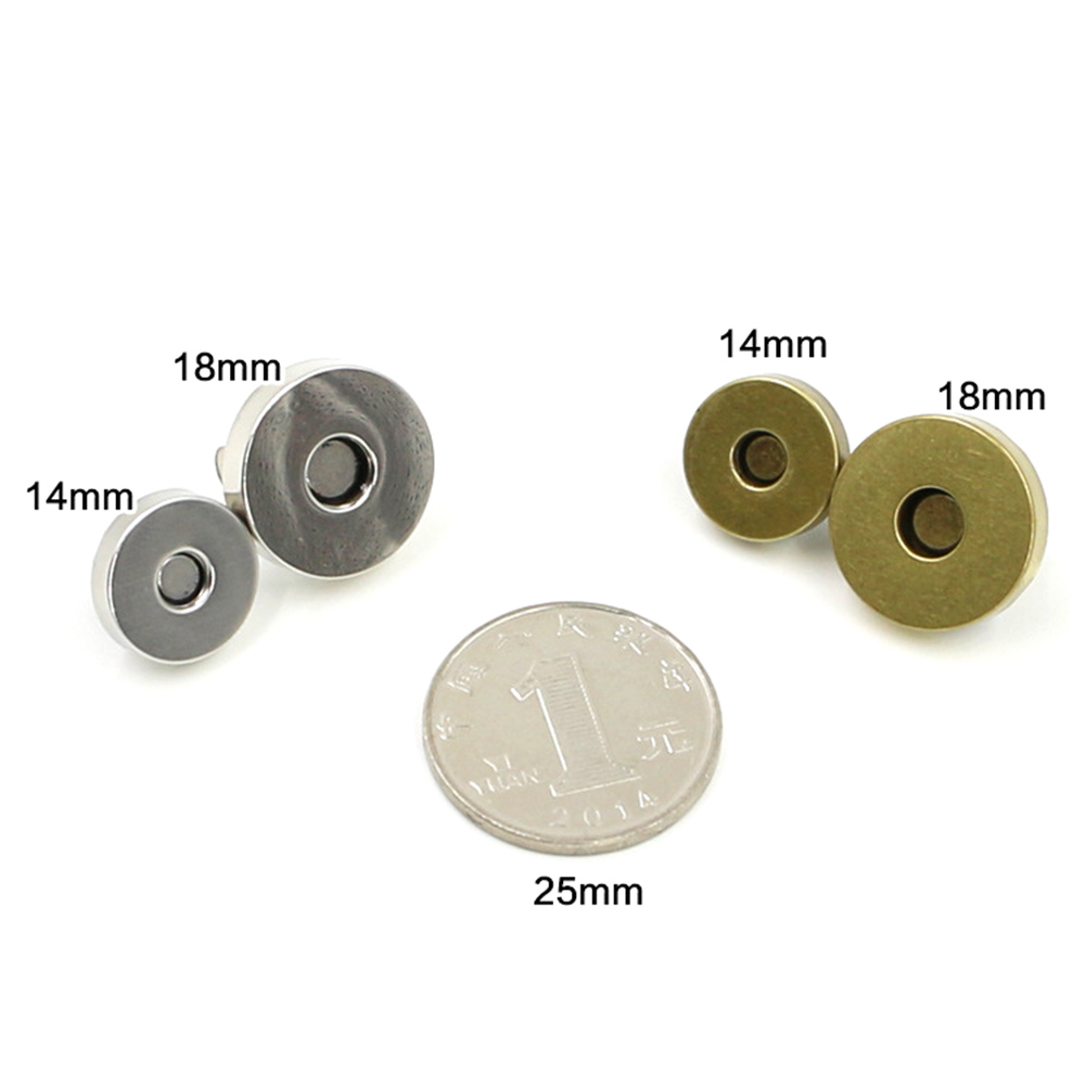 5 Set Classic Quality Round Magnetic Clasp For Bag Metal Silver Purse Snaps Closures Button Press Stud Bag Accessories 14mm 18mm