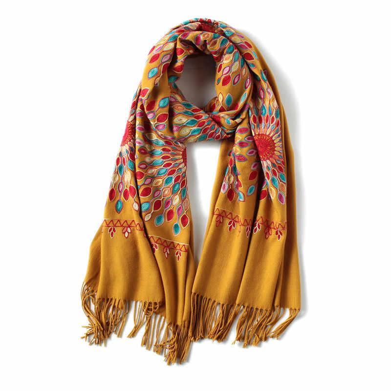 2019 冬のスカーフヴィンテージ刺繍厚く暖かいカシミヤスカーフショールとラップパシュミナ女性バンダナ echarpe