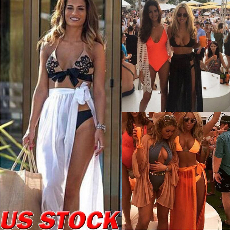 Adaptable Summer New Womens Swim Wear Bikini Cover Up Sheer Beach Lace Up Shirts Mini Wrap Sarong Pareo Long Blouses Fashion Women's Clothing