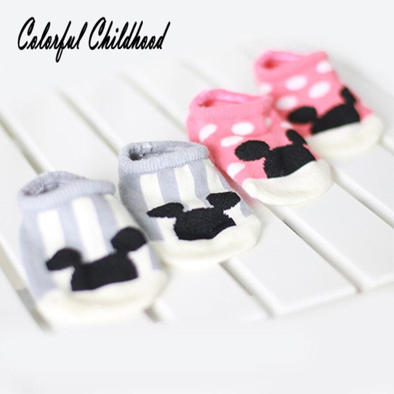 Caroon Mouse Boat Socks Baby Boy/girls Anti-slip Floor Socks Infant Newborn Kids Calcetines Skarpetki Noworodka