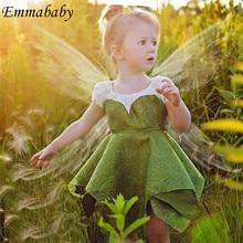 Bonito vestido de princesa verde para niñas vestido de hada Boda de Princesa