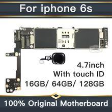 Для iphone 6s материнская плата с полным чипом, Оригинал разблокирован для iphone 6s логические платы с сенсорным ID на 16 Гб/64 Гб/128 ГБ