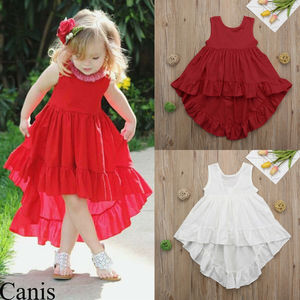 Citgeett Summer Toddler Kids Baby Girl Ruffle Dress Princess Party Tutu Dresses Solid Red White Casual Summer(China)