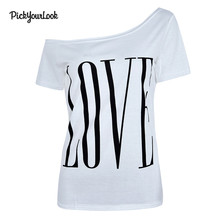 Pickyourlook Women Tshirt Plus Size Fashion Love Letter Print Female T-Shirt And Top Short Sleeve Tee Shirt For Lady T Shirt недорого