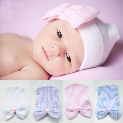 Girls' Baby Clothing Dynamic 2018 Kids Baby Soft Cotton Beanie Girl Boy Striped Bowknot Knitted Hat Toddler Infant Newborn Warm Cap Hats & Caps
