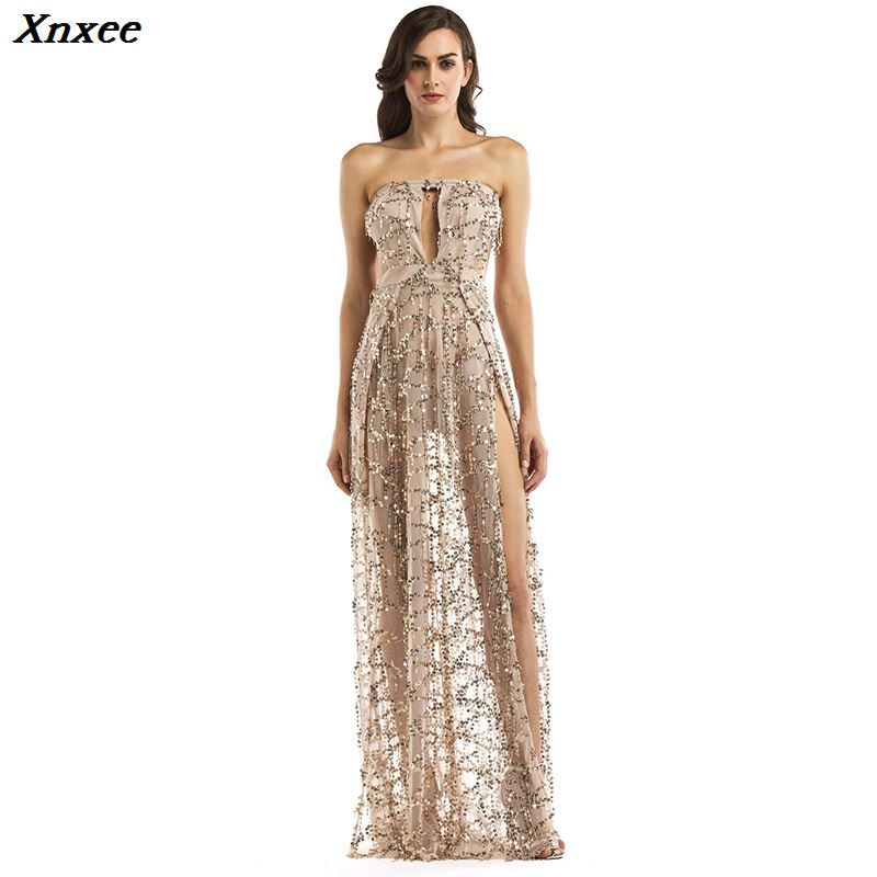 Xnxee vestidos sexy transparent backless sequin dress glitter summer woman clothes mesh strapless white party club long dresses