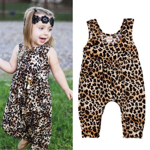 2019 Brand New Cute Newborn Toddler Infant Baby Girl Leopard Vest   Romper   Jumpsuit Harem Pants Sleeveless Sunsuit Outfits Clothes