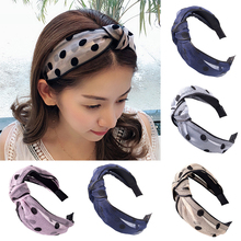 2019 New Arrival Dot Headband Wide Adjustable Cross 11 Colors Wedding Yarn Cloth Shiny Knotted Handmade Lace Cute Seaside 1PC