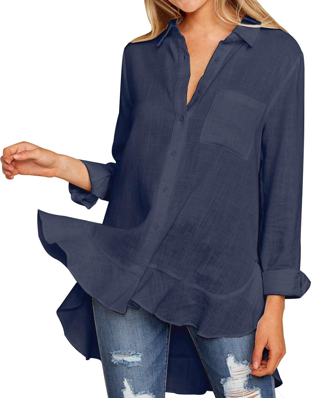 Elegant Ruffles   Blouses     Shirts   Women 2019 Spring Autumn Sexy Ladies V Neck Long Sleeve Asymmetrical Hem Solid   Shirts   Pockets