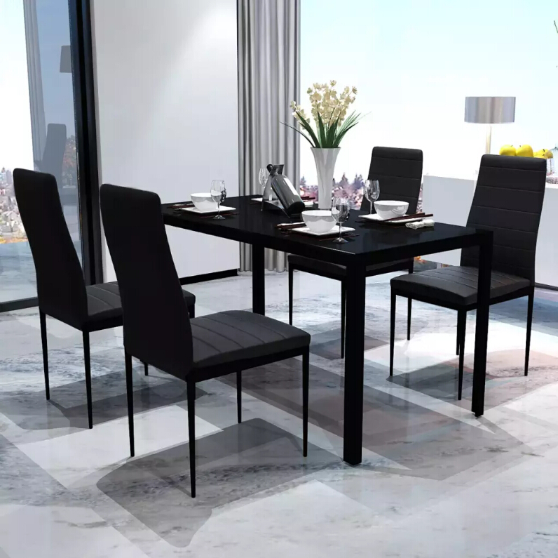 VidaXL 5pcs Dining Room Sets Modern Design High Quality Artificial Leather Table And Chairs Wooden Black Chair Set