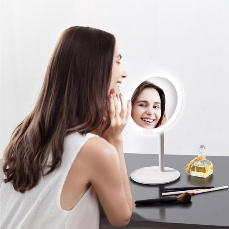 Xiaomi AMIRO AML004 espejo de maquillaje recargable ajustable de brillo LED HD maquillaje luz espejo Mijia espejo de maquillaje cosméticos-in Espejos de maquillaje from Belleza y salud    3