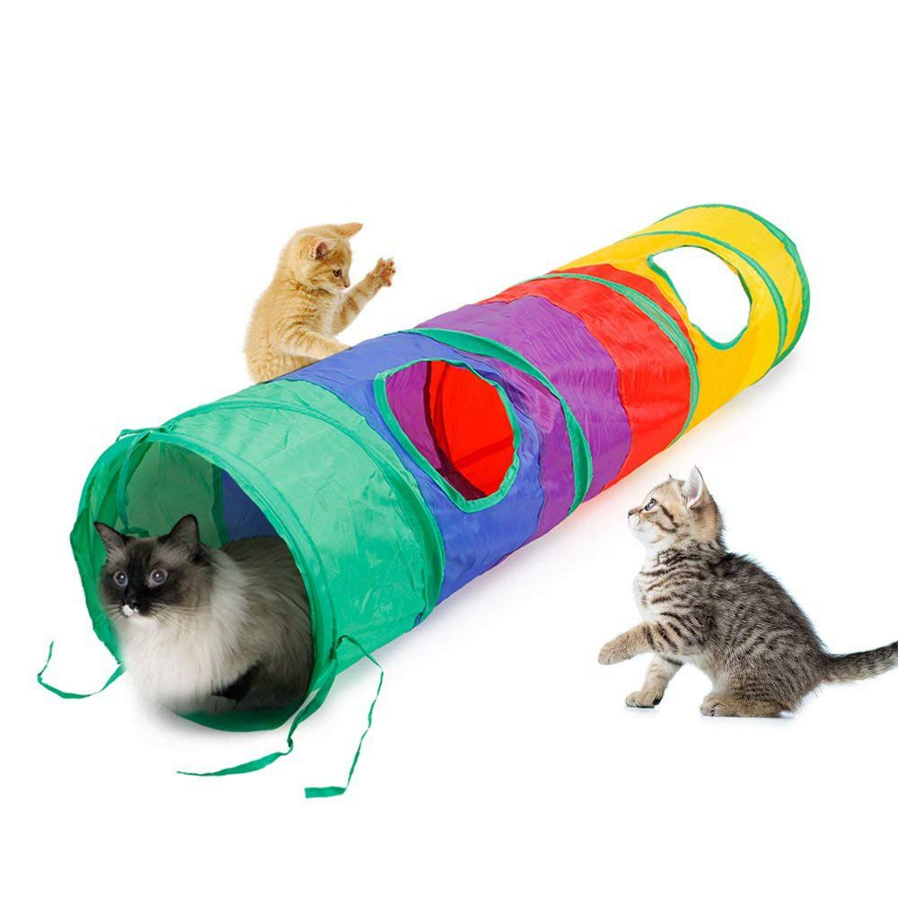 Cat Tunnel Collapsible Fabric Pet Play Tunnel Tube Toy Cute Animal Design Kitty Kitten Training Exercise Fun Playing Tube for Pet Cat Dog Rabbit Dinosaur