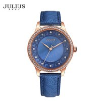 Julius JA 852 Women Watch Leather Watchband Quartz Watch Waterproof Shiny Rhinestone Dial Watch Fashion Hollow Wristwatch
