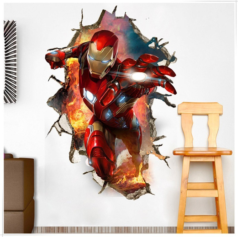 3D Broken Wall Decor The Avengers Wall Stickers for Kids Rooms Home Decor DIY Marvel Heroes Poster Mural Wallpaper Wall Decals image