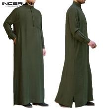 2019 ropa Formal musulmana Thobe Jubba hombres túnica de manga larga Arabia Saudita Thobe Kaftan islámico Thobe vestido Vintage camisas largas