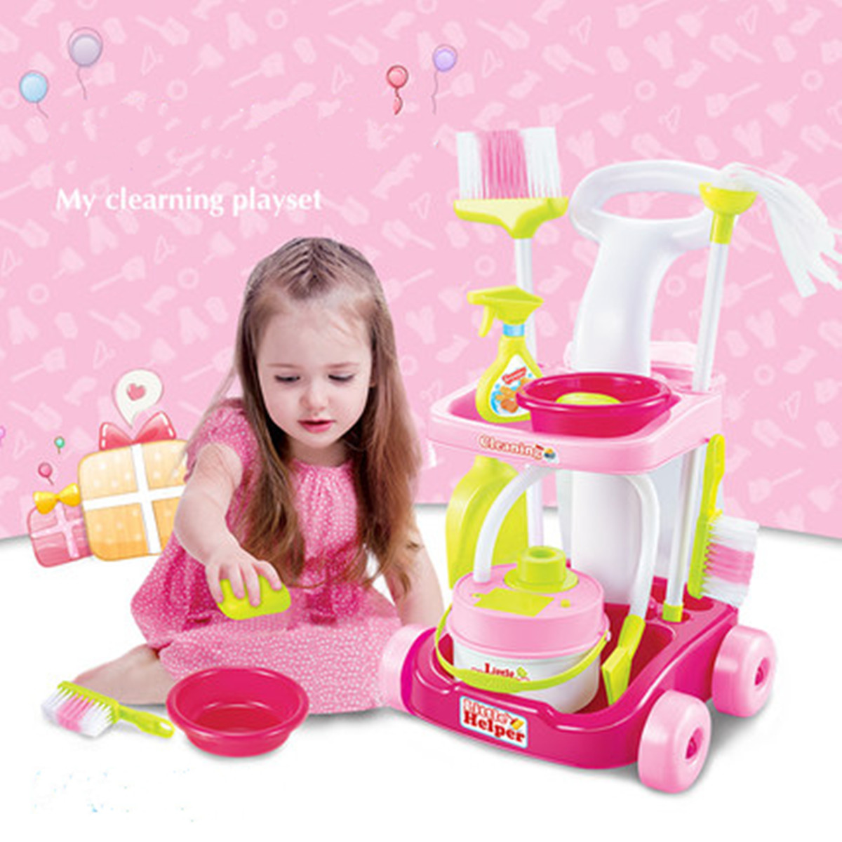 Kids Toddler Cleaner Cleaning Trolley Set Broom Duster Plastic Role Play Educational Toy 38x19x53cm for children above 3 years