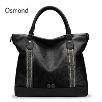 Osmond Black Female Luxury Hand Bags Large Capacity Crossbody Bag For Women Brand Soft Leather Handbag Woven Stitching Tote Bag