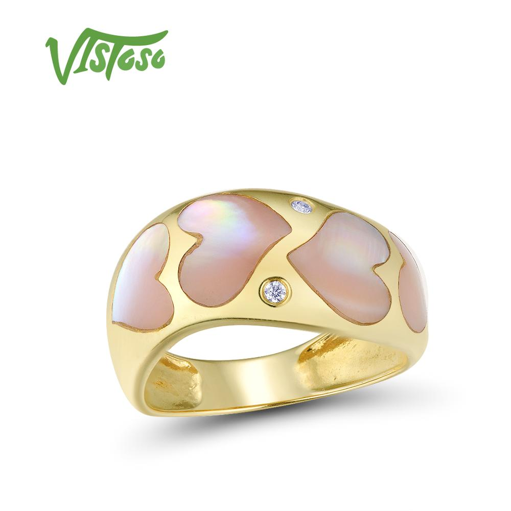 VISTOSO Gold Rings For Women Genuine 14K 585 Yellow Gold Ring Sparkling Diamond Pink Mother of Pearl Anniversary Fine Jewelry