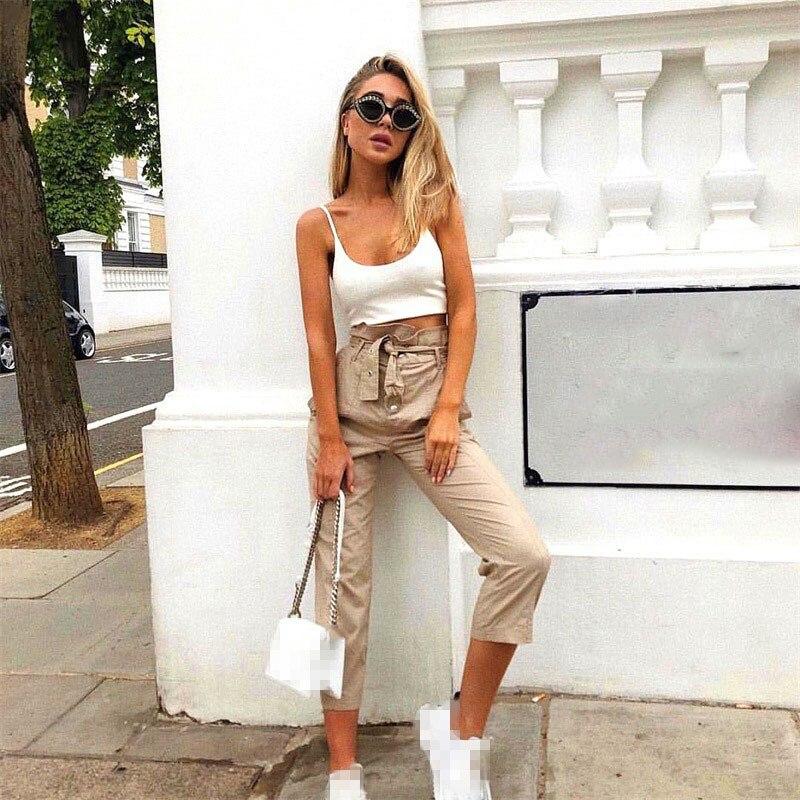 Skinny High Waist Women   Pants     Capris   Streetwear Long Green Casual   Pants   Long Cargo Trousers Bottoms