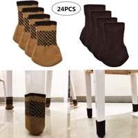 24Pcs Chair Leg Socks Cloth Gloves Floor Protection Knitting Wool Socks Anti slip Table Furniture Feet Sleeve Cover Protectors