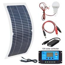 18 в 10 Вт монокристаллическая солнечная панель+ 10 А контроллер заряда комплект зарядного устройства+ светодиодный светильник для RV автомобиля лодки туризма Солнечная лампа 3W