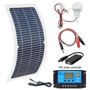 Image 1 - 18 v 10 ワット単結晶ソーラーパネル + 10A 充電コントローラバッテリー充電器キット + led ライト rv 車ボート観光ソーラーランプ 3 ワット