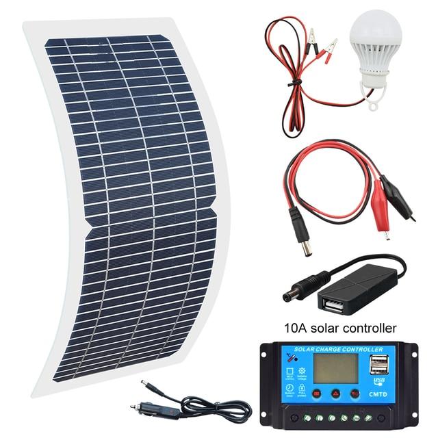 18V 10W Monocrystalline 솔라 패널 + 10A 충전 컨트롤러 배터리 충전기 + LED RV 자동차 보트 관광 태양 램프 3W