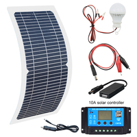 18V 10W Monocrystalline Solar Panel+10A Charge Controller Battery Charger Kit + LED Light For RV Car Boat Tourism solar lamp 3W