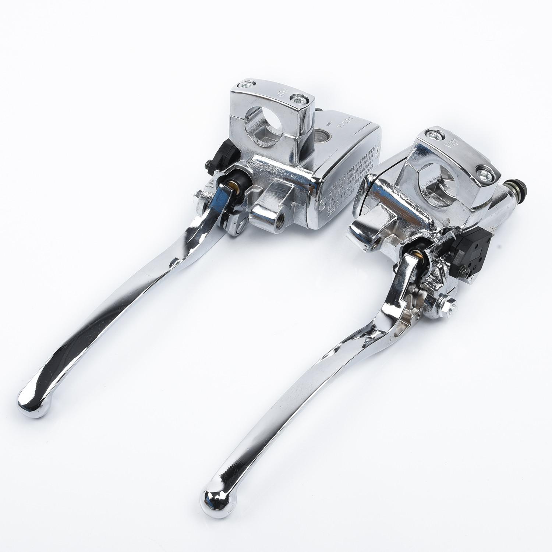 2pcs Motorcycle Chrome Brake Master Cylinder Clutch Levers High Quality Cylinder Clutch Levers For Suzuki Intruder 800/1400/1500