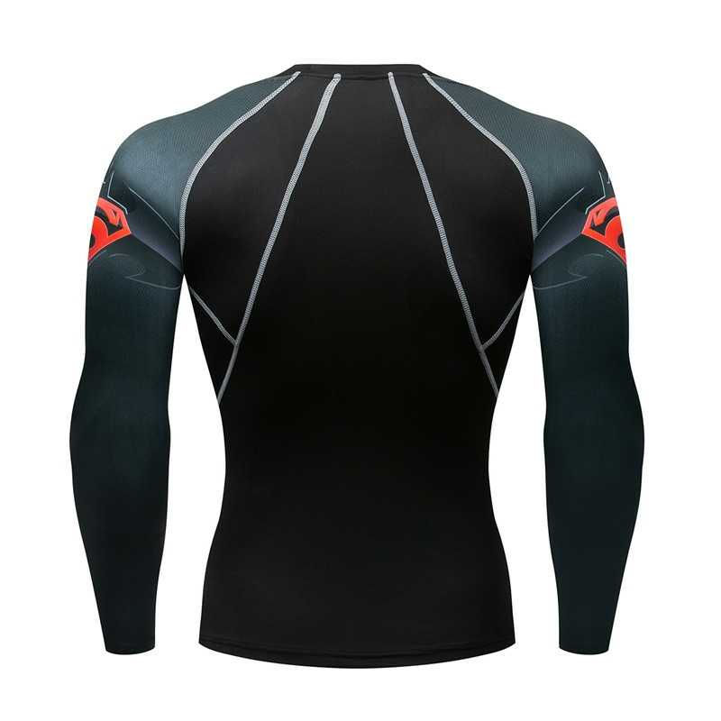 Super-homem t camisas manter o ajuste de fitness mangas compridas pele mma apertado peso t levantamento elástico dos homens compressão t camisa zootop urso