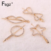 Crystal Hairpin For Women Rhinestones Paved Fringe Hair Clips Gold Metal Hairgrips Geometric Hollow Out Tips Star Type Bobby Pin