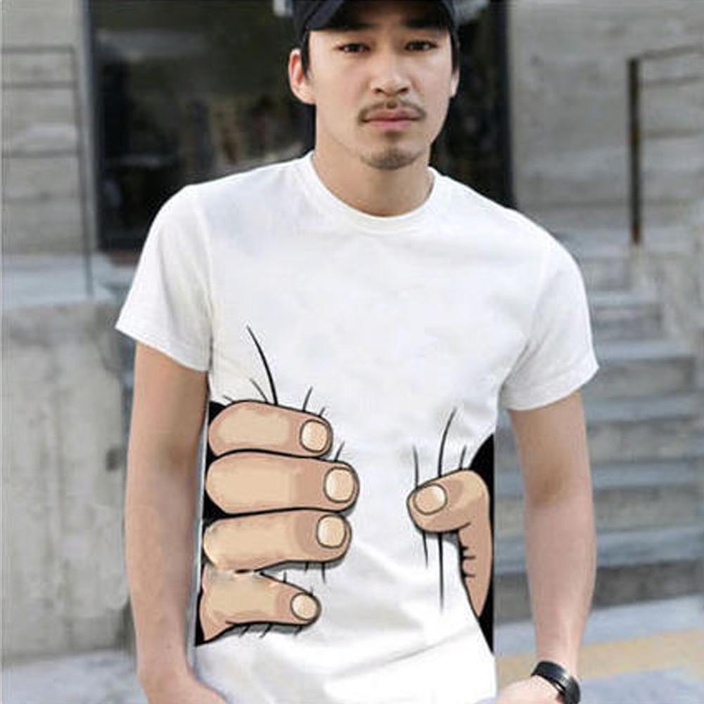 2019 New Product Men's Fashion Summer Harajuku 3D Big Hand Print Round Neck Short Sleeve White t shirt