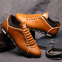 Fashion Casual Shoes Men Sneakers Trend Shoes Leather Red Driving Shoes Autumn Trainers Men Lace Up Sports Zapatos De Hombre