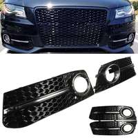 Pair Glossy Black Fog Light Lamp Cover Grills Front Bumper For Audi A4 B8 STANDARD S LINE 2009 2010 2011 Car Styling