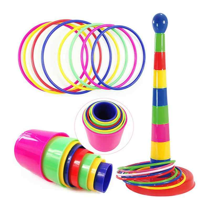 Educational Colorful Ring Toss Puzzle Toys Plastic Intelligence Development Parent-child Sports Game