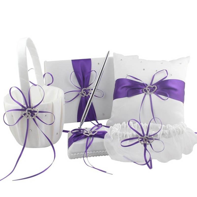 5 pièces/ensemble panier de fleurs de mariage + ensemble de stylo livre d'or + accessoires ensemble oreiller anneau - 2