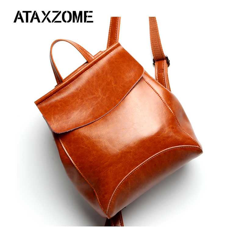 ATAXZOME sac à dos en cuir fendu pour femme école véritable peau de vache fourre-tout femme véritable voyage épaule dames grand sacs pack
