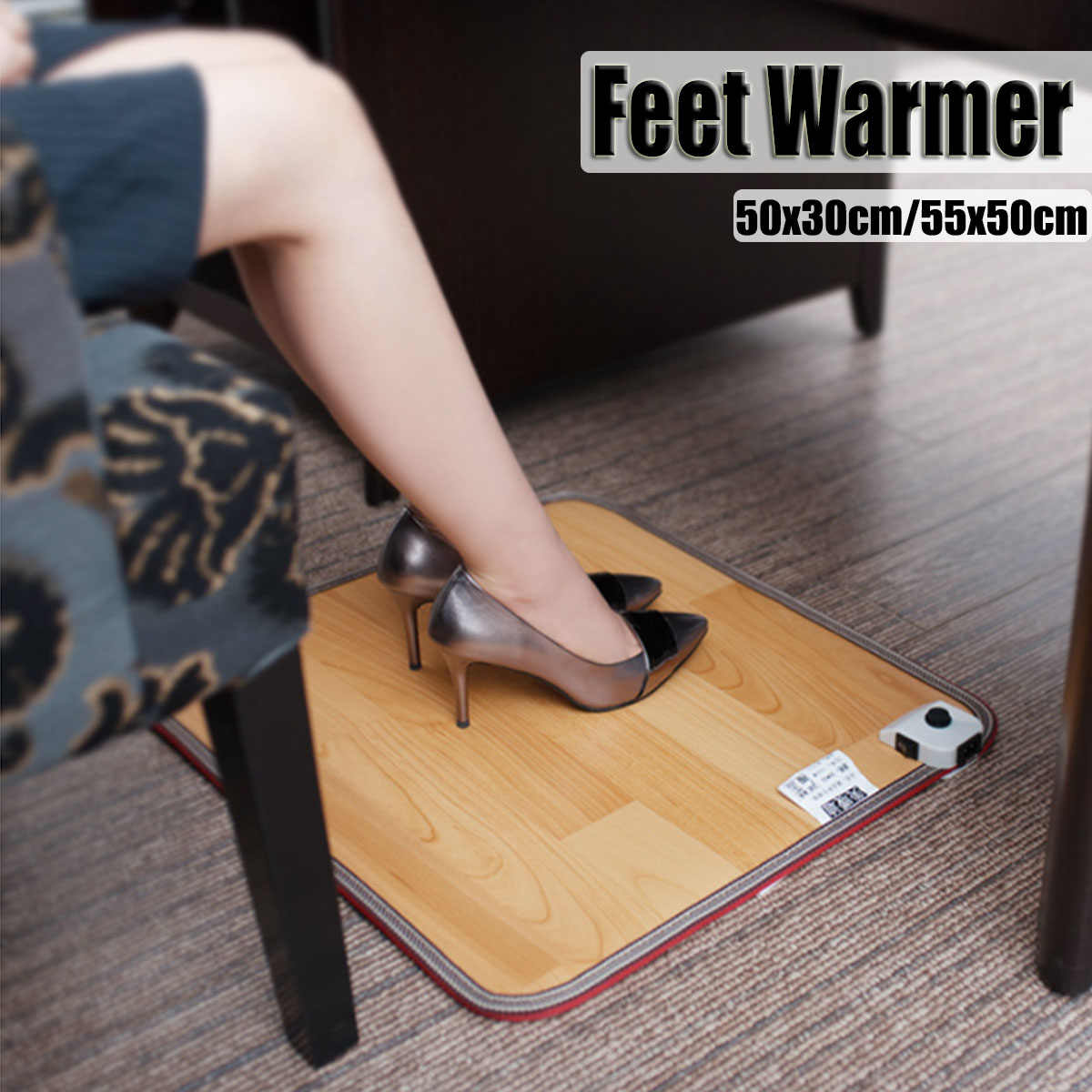 Foot Feet Warmer Electric Heating Mat Office Warm Feet Thermostat Heating Pad Home Heated Floor Carpet 50x30cm / 55x50cm