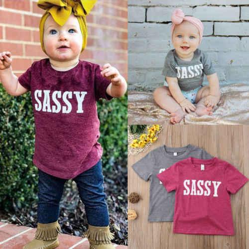 0-4Y เด็กเสื้อยืดเด็กเสื้อฝ้ายแขนสั้นเสื้อเสื้อผ้า Sassy ฤดูร้อน