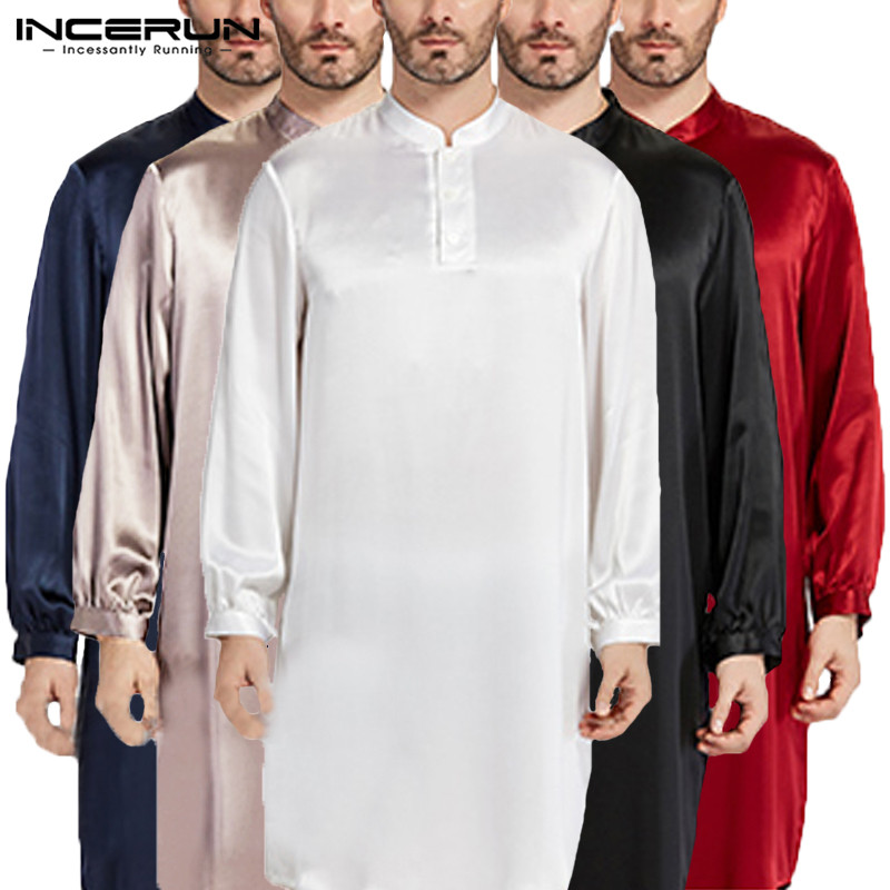 Nightgown Men Robe Pajamas Silk Satin Long Sleeve Bathrobe Lounge Arabe Kurtas Dress Shirt Gown Masculina Islamic Men Clothes