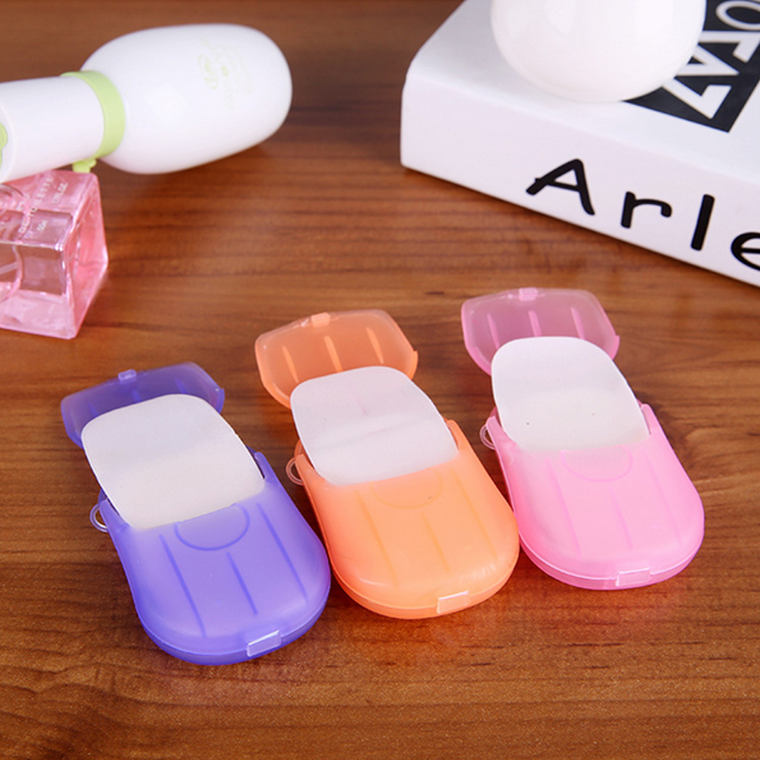 Portable Outdoor Travel Hand Washing Cleaning Scented Slice Sheets Mini Paper Soap Random 20pcs Disposable Boxed Soap Paper