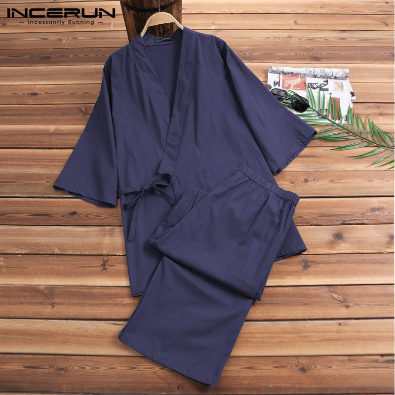 2Pcs/Set Fashion Kimono Pajamas Male Robe Gown Mens Lounge Bathrobe Sleepwear Mens Cotton Pajamas Suits Lightwear Loose Fit NEW