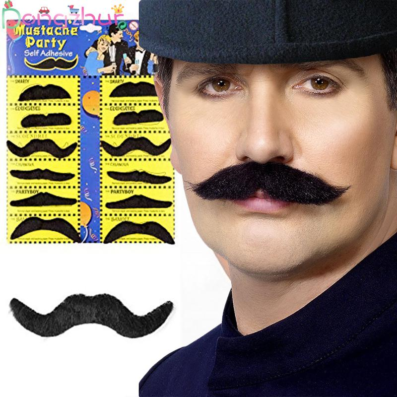 12pcs Halloween Party Creative Funny Costume Pirate Party Mustache Cosplay Fake Moustache Fake Beard For Kids Adult Decor Toy