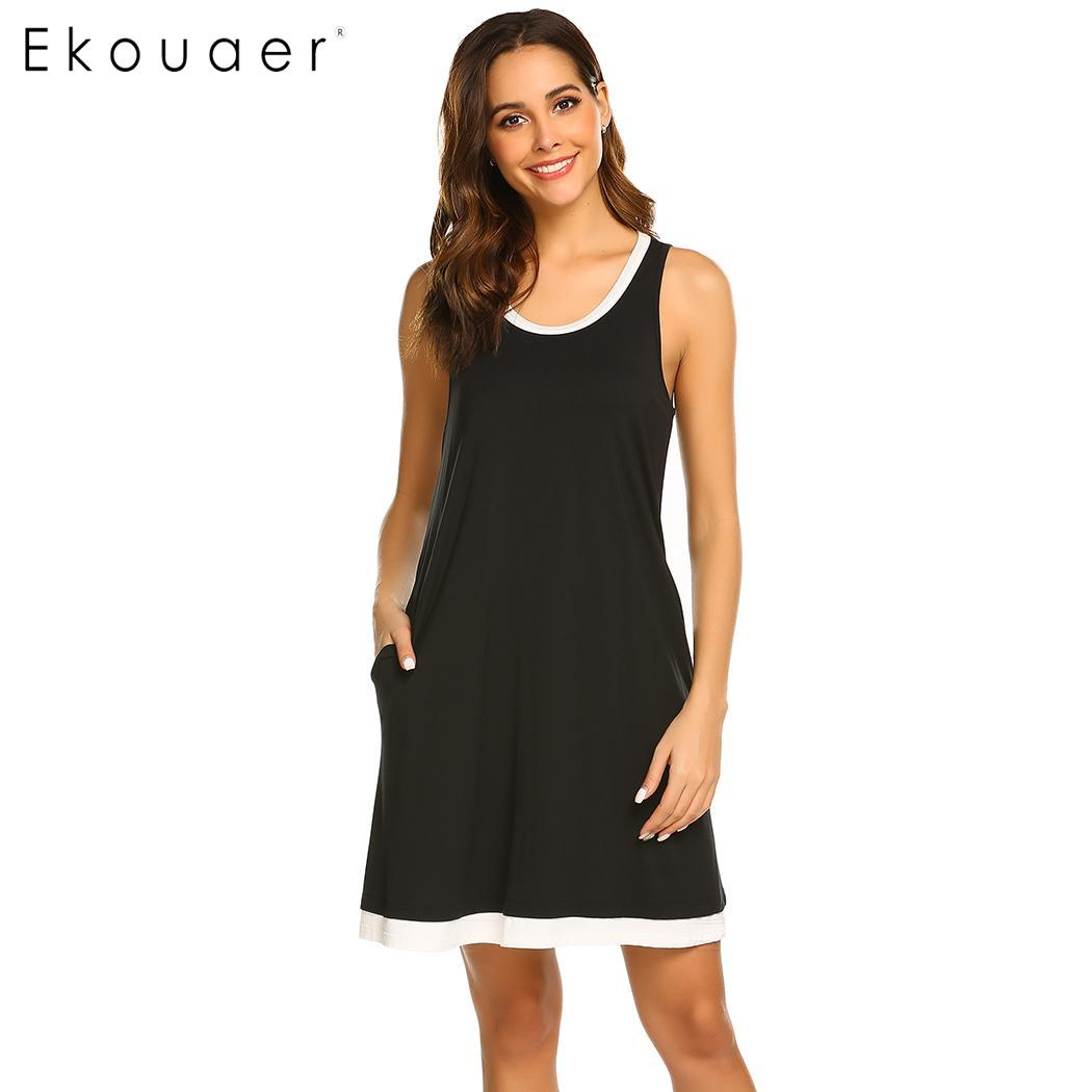 Ekouaer Summer   Nightgown   Chemise   Sleepshirts   Women O-Neck Sleeveless Comfortable Loose Vest Nightdress Nightwear Soft Homewear