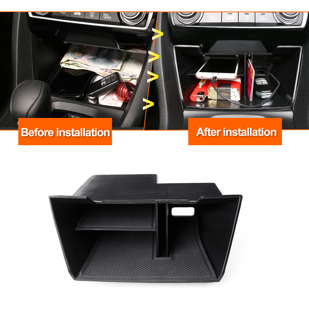 For Honda For Civic 10th 2016 2017 2018 ABS Inner Car Center Console Central Cellphone Card Multi Function Storage BoxFor Honda For Civic 10th 2016 2017 2018 ABS Inner Car Center Console Central Cellphone Card Multi Function Storage Box