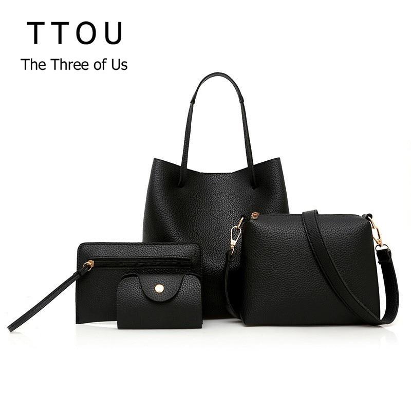 100% QualitäT Ttou Frauen Fashion Solid Handtasche Set 4 Stück Weiblich Casual Pu Tote Tasche Große Verbund Taschen Bolsa Feminina Verkaufsrabatt 50-70%