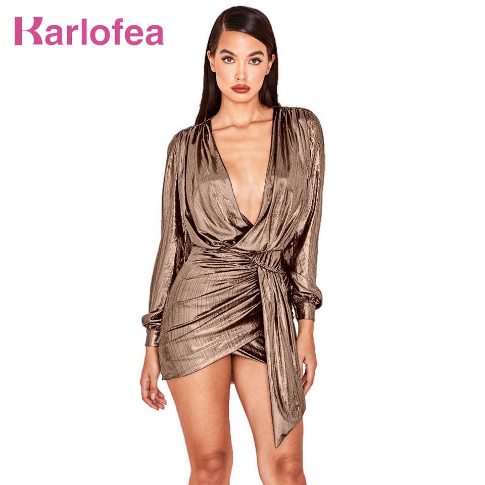 Karlofea Pleated Club Dress For Women Sexy Deep V Neck Shiny Metal Color New  Long Sleeve f505afee0745